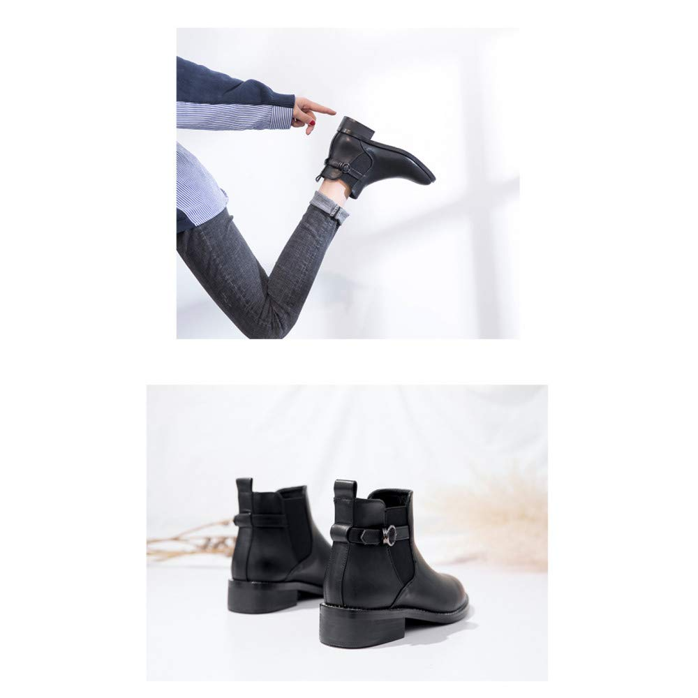 Qingchunhuangtang Dicke und Flache Schwarze Kurze Stiefel Wilde Chelsea-Stiefel im im im Frühjahr und Herbst-Winter-Retro-England-Martin-Stiefel 0b5ea0