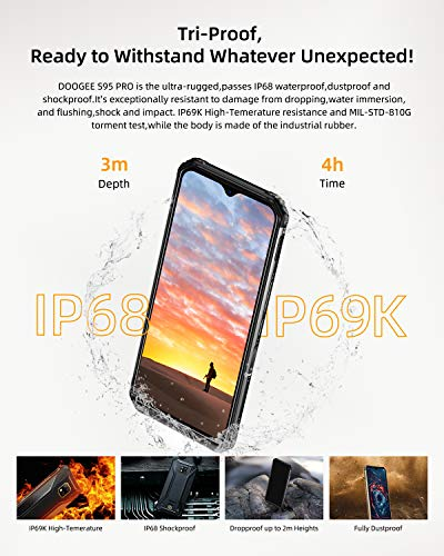 DOOGEE S95 PRO 8+256GB Super 2020 Rugged Smartphone Unlocked Outdoor 4G, Helio P90 Phones Dual SIM Free, Android 9.0 IP68 Waterproof, 48+8+8+16MP AI Cameras, 6.3 inch, 5150mAh, GPS/NFC/Wireless Charge