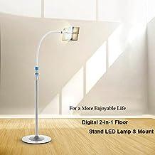 Yaetek Digital 2-in-1 Flexible Floor Stand LED Lamp & Mount, Tablet Smartphones Floor Stand with LED Light