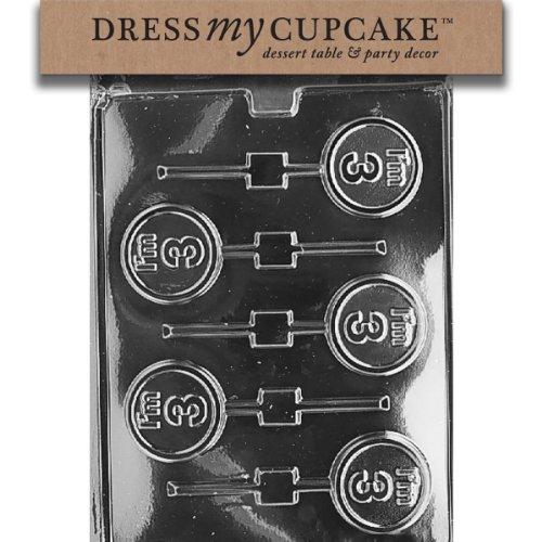Dress My Cupcake DMCL025SET Chocolate Candy Mold, I'M 3 Lollipop, Set of 6