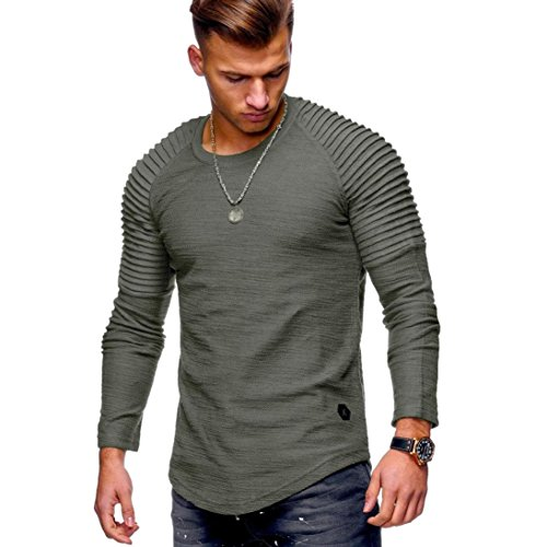 Coohole Men's Round Neck Pleatd Solid Long-sleeved Casual Slim T-shirt (M, Army Green) by Coohole