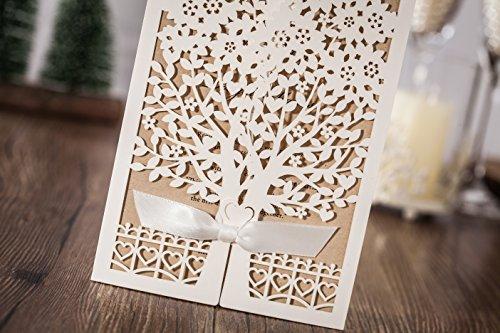 100x Wishmade White Tree Design Wedding invitation card, business invitation card, Party invitation card CW6176 by wishmade (Image #3)