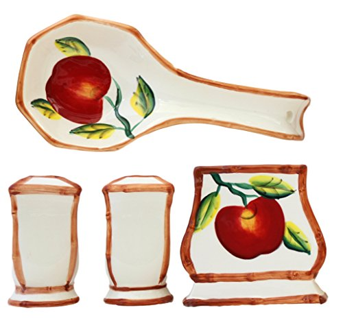 th Bamboo Trim Hand Painted, Stove Top Set of 4pcs, 84325/28 by ACK ()