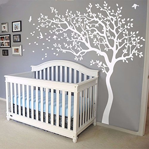YOYOYU Nursery Bedroom Wall Sticker -White Tree And Flying Birds Blossom Tree Wall Decal -Nursery Tree Mural For Kids Room-Left Face (All White) Paint Mural Kids Room