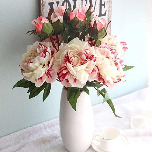 kirin Fake Flowers,Artificial Flowers Plants Silk Plastic 6 Heads Peony Flower Arrangements Wedding Bouquets Decorations Floral Table Centerpieces for Home Kitchen Garden Party Décor (Peony Centerpiece)