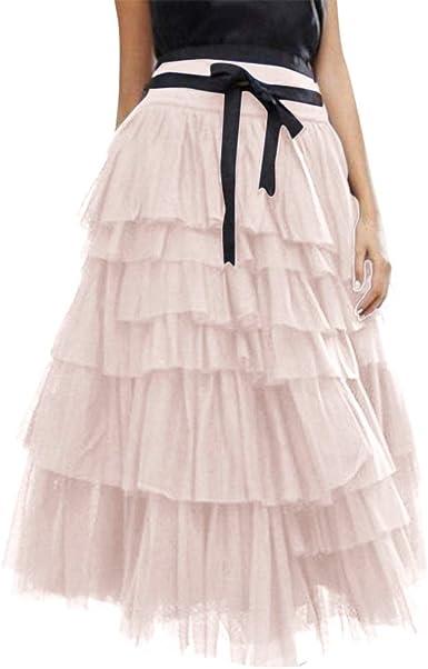 Qijinlook 💖Falda Tul Mujer/Faldas largas, ¡Caliente! Falda de ...
