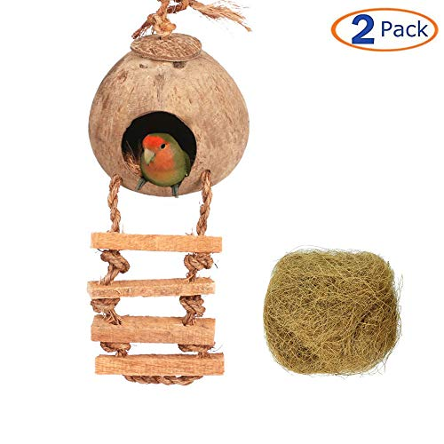 (Tfwadmx 2 Pcs Coconut Hide with Ladder, Coconut Fiber Hanging Bird House for Cage and Outside, Bird Breeding Nest, Coconut Shell for Parrot Macaw Parakeet Cockatiels Conure Lovebird Finch Canary)