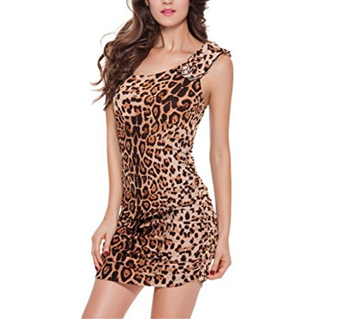 Leopard Print Silk Dress (Briskme Leopard Print Sexy Club Dress Single Shoulder Bodycon Dress (xl))
