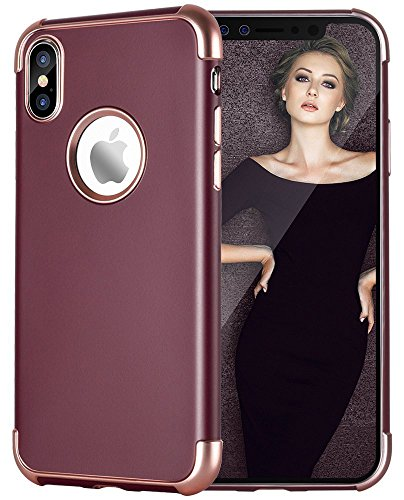 iPhone X Case, Caka iPhone X Ultra Slim Case Matte Finish Luxury Fashion Flexible Anti-Scratch Silicone Shockproof TPU Protective Case for iPhone X - (Burgundy) (Finish Burgundy)