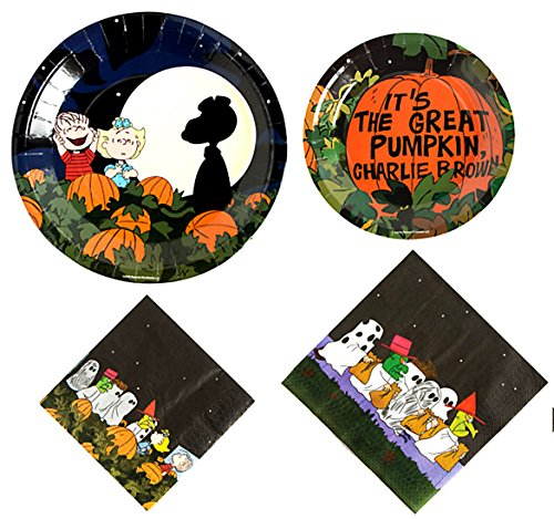 Snoopy Halloween The Great Pumpkin Party Supplies for 16 People: Lunch or Dinner Plates, Dessert Plates and Napkins 64 Piece Set -