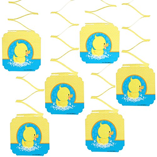 Big Dot of Happiness Ducky Duck - Baby Shower or Birthday Party Hanging Decorations - 6 Count -