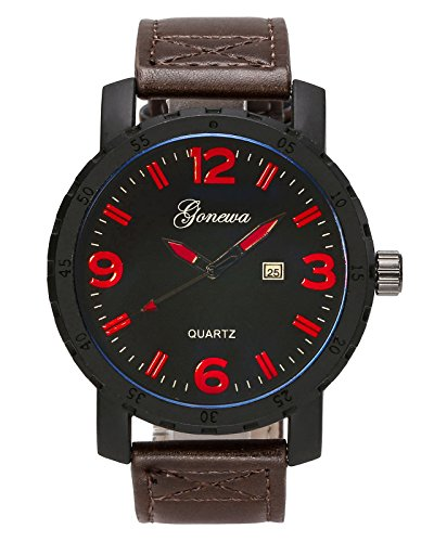 Top Plaza Mens Analog Quartz Leather Calendar Watch Arabic Numeral Daily Waterproof Big Face Business Classic Dress Watches-Coffee