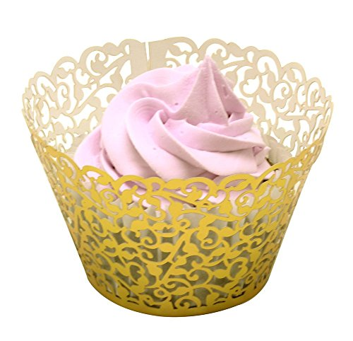BETOP HOUSE Vine Lace 50-Piece Cupcake Wrappers, Shinning Gold ()