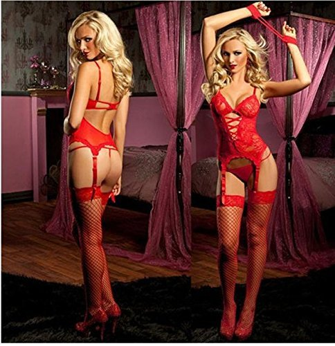 [AnHua Women's Sexy Erotic Lingerie Strings Teddy Romper Stripper Wear Underwear bodysuits (Red)] (Sexy Outfit Women)