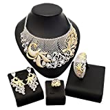 American Diamond Jewelry Set Earrings Costume Necklace Rings Saudi Ethiopian Women Bride Wedding Girls Nigerian Zircon Dubai 18k Gold Plated Filled Fashion African Indian Cubic Zirconia Bridal