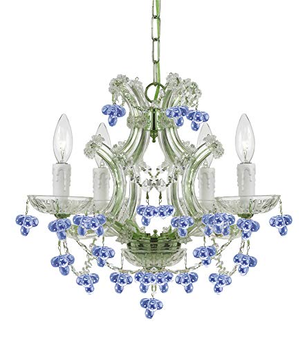 (Crystorama 4474-CH-BLUE Traditional Four Light Mini Chandelier from Hot Deal collection in Chrome, Pol. Nckl.finish,)