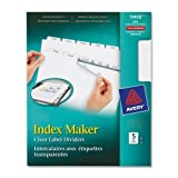 Wholesale CASE of 25 - Avery Prepunched Index Maker Dividers w/ Tabs-Index Maker, Laser, Punched, 5-Tab, 1/ST, White
