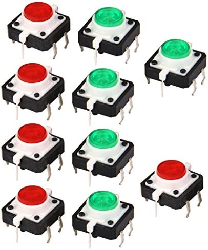 yotijar LED 4ピンDIP緑赤12V DCと瞬間的な10x触覚プッシュボタンスイッチ
