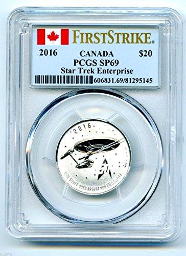 2016 Canada FIRST STRIKE Coin STAR TREK ENTERPRISE Proof .9999 Silver $20 SP69 (Pcgs 20 Coin)
