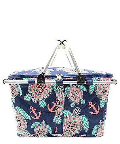 Sea Turtle Aztec Tribal Anchor Print Canvas Insulated Market Tote Picnic Basket Blue