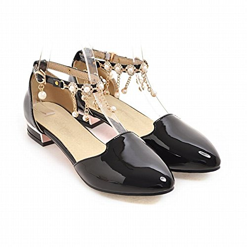 Mee Shoes Women's Charm Block Heel Buckle Ankle Strap Bead Court Shoes Black T5t30