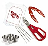 Norpro Seafood Bundle for 4: Ultimate Seafood Shears, Red Lobster Cracker, Seafood Forks / Picks, Sauce / Butter Cups, & Lobster Bibs