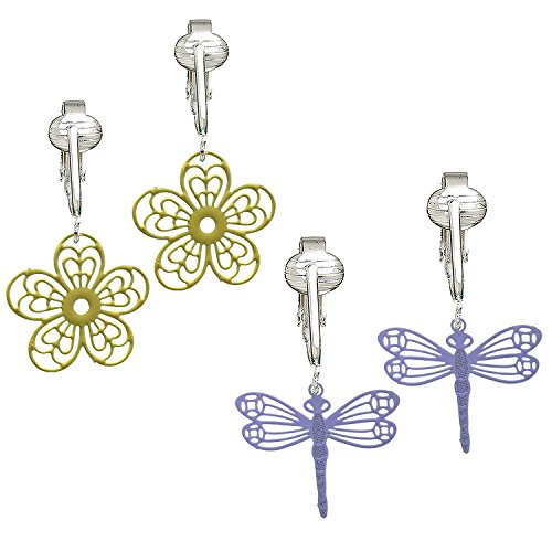 Darling Victorian Filigree Clip On Earrings for Women & Girls Clip-ons, Lacy Rounds, Flowers & Dragonfly (Dragonfly/Daisy Set of 2)