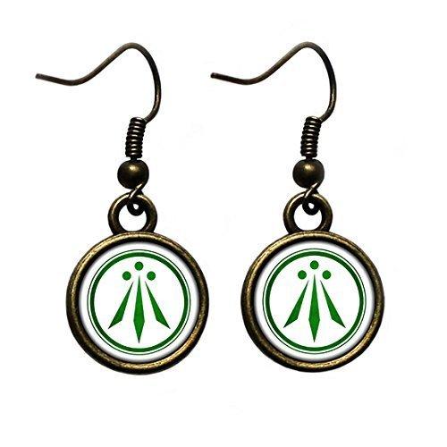 Celtic Symbol - The Awen - Three Rays of Light - Green on White Antique Bronze Earrings