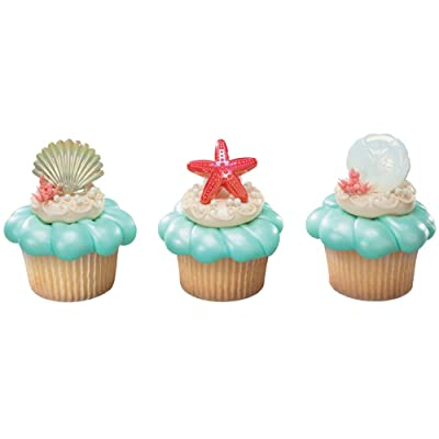 DECOPAC Sea Shell Cupcake Rings (12 Count): Toys & Games