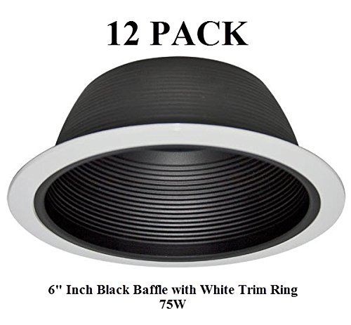 "6"" INCH RECESSED LIGHTING BAFFLE TRIM IN BLACK REPLACES HALO"