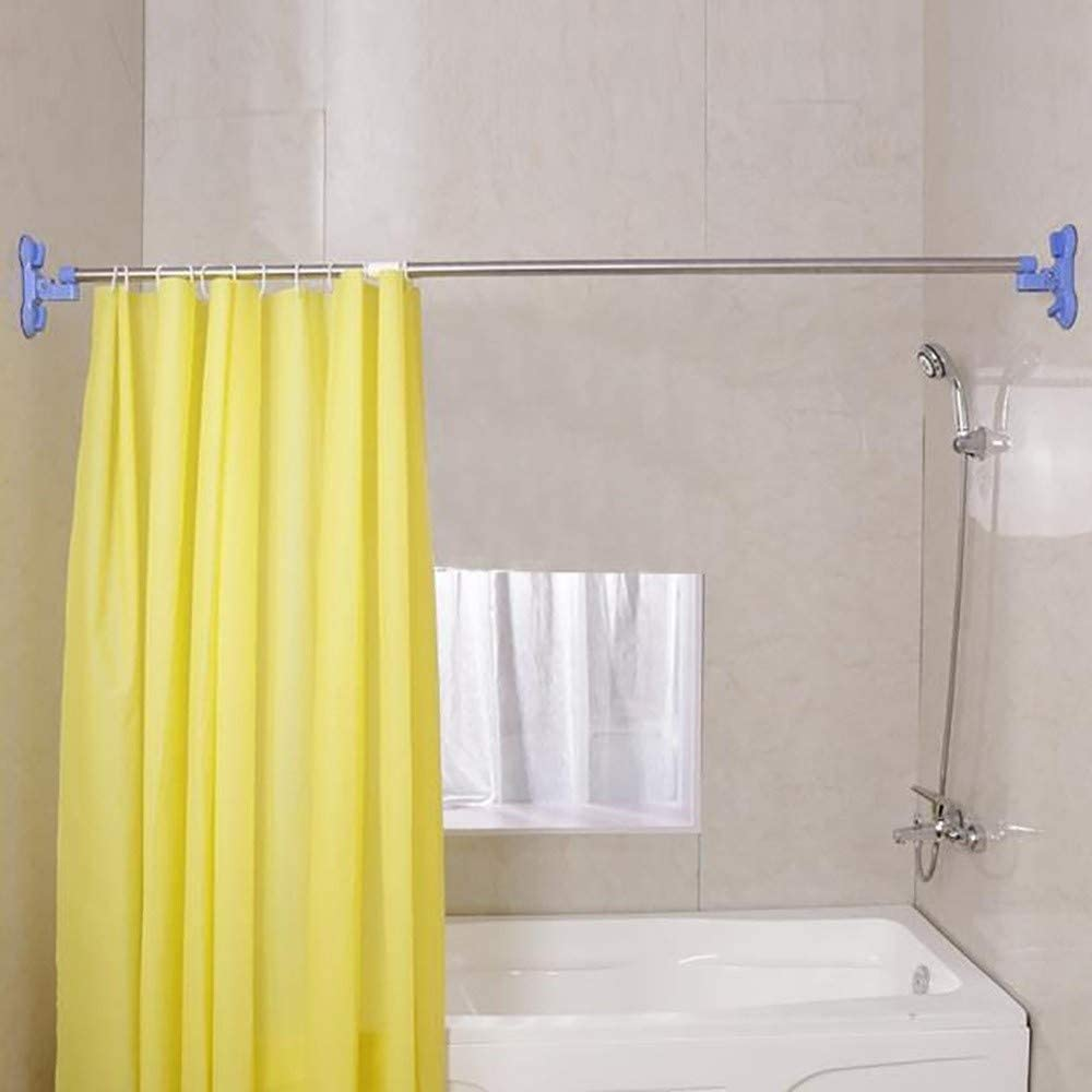 Retractable Length Bath Rod Wall Mounted Bathroom Shower Curtain Track Punch Free Suction Cup Shower Rod Wall Mounted Bathroom Shower Curtain Track Color Blue Amazon Co Uk Kitchen Home