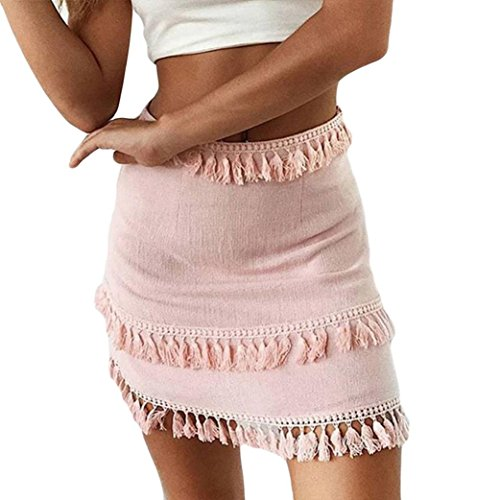 Skirts for Womens Elastic High Waisted Loose Skirt Tassel Stretch Bodycon Below Knee Skirt