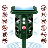 Naloth Newest Ultrasonic Animal Repeller Solar Powered Waterproof with Motion Sensor, Flashing Light,Buzzer,Vibrating Chase Away Unwelcome Animal from Our Yard Lawn Garden Outdoor