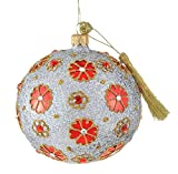 Jinglenog Camille Handcrafted Mouth Blown Polish Glass Crystal Trimmed Floral Patterned Christmas Tree Ball Decoration