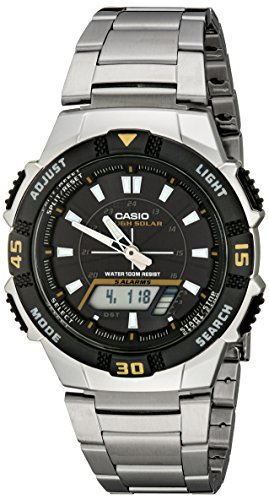 Atomic Watch Solar Casio Power - Casio Men's AQS800WD-1EV Slim Solar Multi-Function Analog-Digital Watch