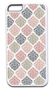 04-Colorful Damasks- Case for the APPLE iPhone 5c, 5c -Hard White Plastic Outer Case with Tough Black Rubber Lining