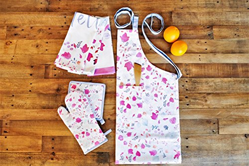 Vous Du Rivage - Meadow Collection - 100% Cotton Set of 3 - Digitally Printed Watercolor Apron (28 x 36 Inch) + Oven Mitt (7.5 x13 Inch) + Pot Holder (8 x 8 Inch). Perfect Gift. French Designs. Kitchen Collection Apron
