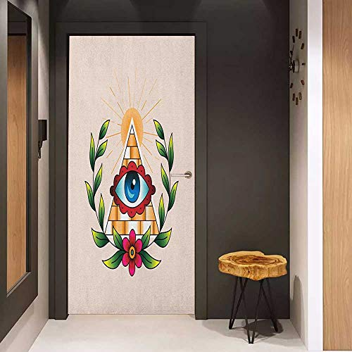 Onefzc Door Wallpaper Murals Eye Abstract Composition with Pyramid Sun and Laurel Wreath Esoteric Style with Many Colors WallStickers W23 x H70 Multicolor