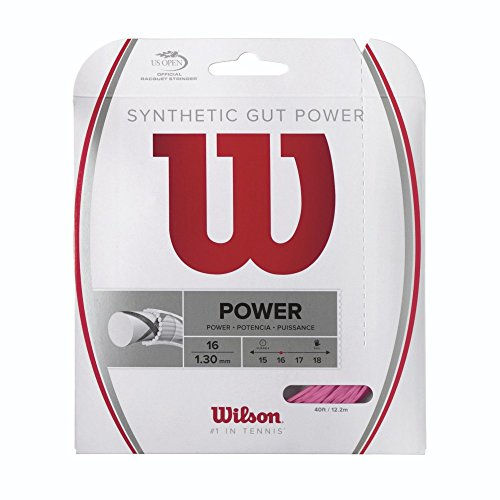 Wilson Synthetic Gut Power Tennis String, Pink, 16-Gauge - Tennis Racket String