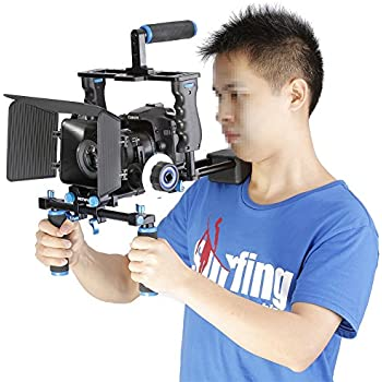 Neewer Aluminum Film Movie Kit System Rig for Canon/Nikon/Pentax/Sony and other DSLR Cameras,includes:(1)Video Cage+(1)Top Handle Grip+(2)15mm Rod+(1)Matte Box+(1)Follow Focus+(1)Shoulder Rig