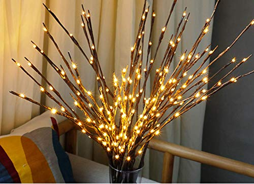 Pack Branch Lights IP54 LED Branches Battery Powered Decorative Lights Vase Filler Willow Twig Lighted Branch Home Decor Warm White 30 Inches 20 LED Lights (Branches Light) Xmas Decor (2 pcs/Pack) -