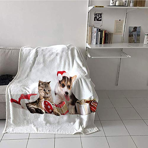 Khaki home Children's Blanket Cozy Flannel Plush Throw Blanket (60 by 62 Inch,Christmas,Dog and Cat in Santa Hats with Surprise Boxes and Balls New Year Celebration,Red White Brown (Pottery Barn Cat In The Hat Bedding)