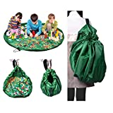 NOTAG Lego Storage Toy Organizer Bag Floor Activity Mat,Portable Container for Storing Kids Toys,Children Designer Multi-Purpose Fast Collection Playbag Can Turn Into A Shoulder Bag (Green)