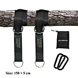Canway Set of 2 Tree Swing Straps Hanging Kit Holds Max 2200 LB with Two Heavy Duty Carabiners (Stainless Steel) - Camping Hammock Accessories (5ft)