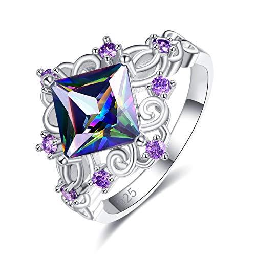 Jade Floral Band Ring - PAKULA Silver Plated Women Princess Cut Simulated Rainbow Topaz Floral Ring Size 6
