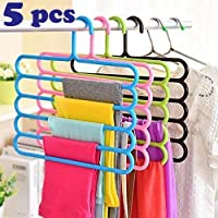Zollyss 5 Layer Plastic Hangers (Random Color) - Set of 5