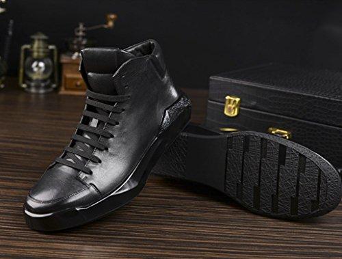 Fondo Los Marea Los Zapatos De GOLDGOD Cuero Retro Zapatos Alto De Cuero Aumentan De Tacón Grueso De Los Zapatos Hombres De Casuales De Zapatos Los De Black Negro WUrYyqwSU