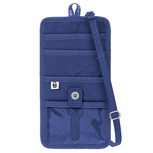 Baggallini RFID Travel Organizer Crossbody Passport CC Wallet Bag Royal Blue/Mint