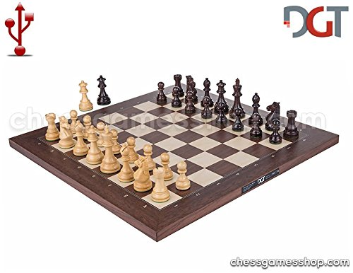 DGT USB Rosewood eBoard with Royal pieces - Electronic chess by DGT e-board