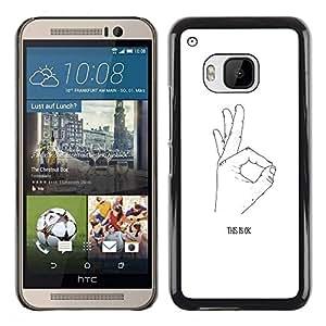 Be Good Phone Accessory // Dura Cáscara cubierta Protectora Caso Carcasa Funda de Protección para HTC One M9 // Ok Hand Signal Signing White Black Minimalist